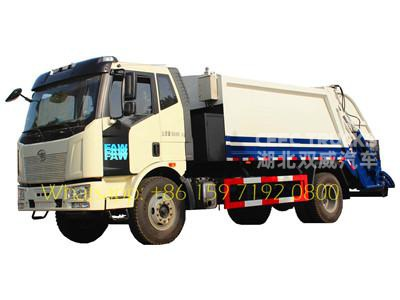 Lowest price FAW 10-12 m³ garbage compactor trucks