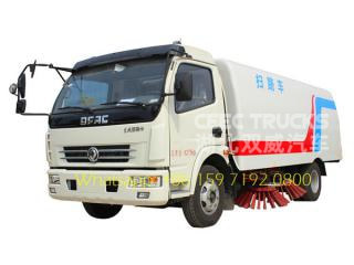 Dongfeng 7400kg gross weight road sweeping truck with sweeper and washer