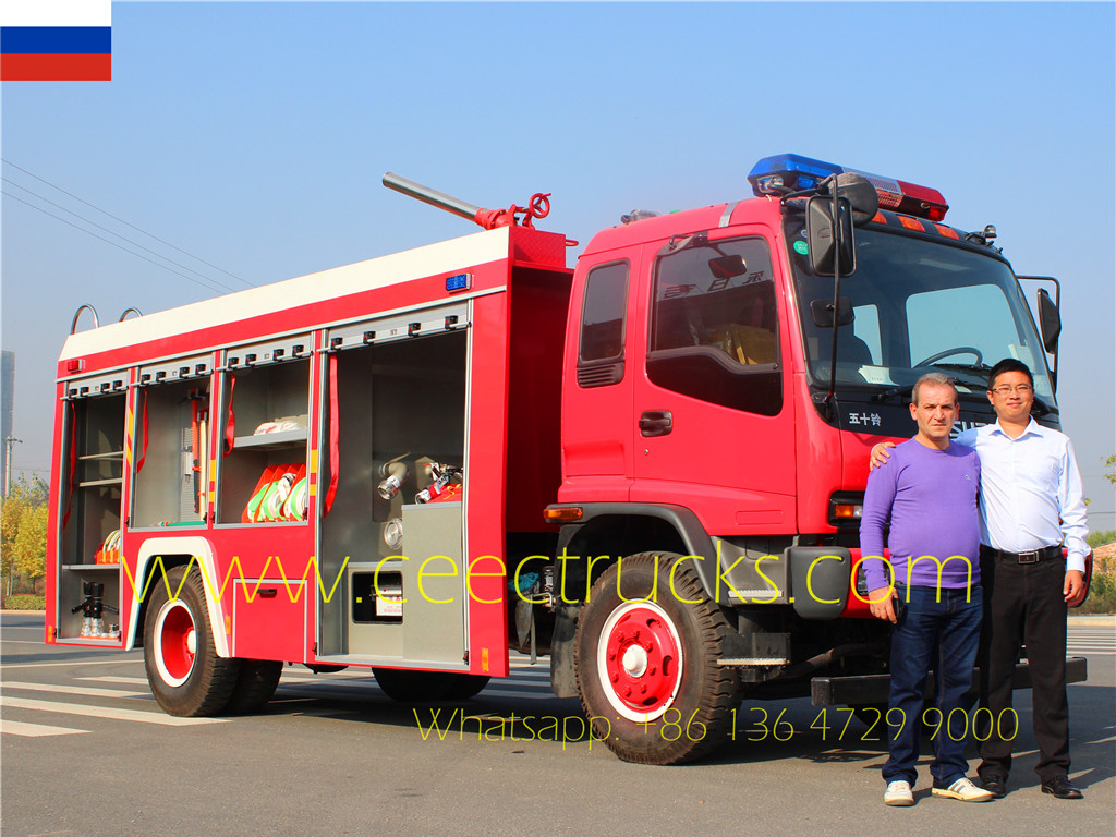 Russia Customer visiting our factory inspecting the ordered ISUZU fire truck