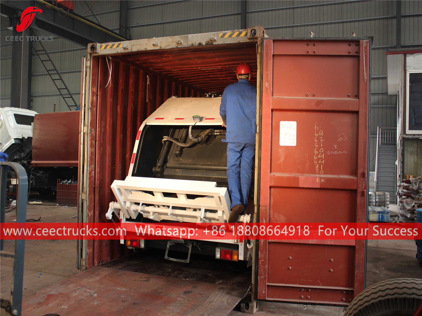 Republic of Cape Verde- 8 CBM garbage compactor truck shipped by 40 FT container