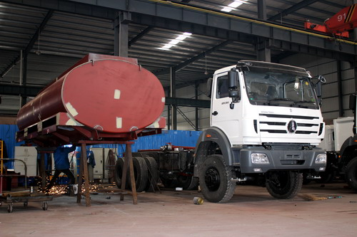Production of 20 CBM water tanker truck ( Part 5- Tanker body painting)