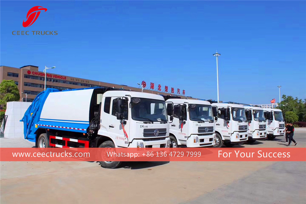 8 units dongfeng garbage compactor truck exporting to vietnam