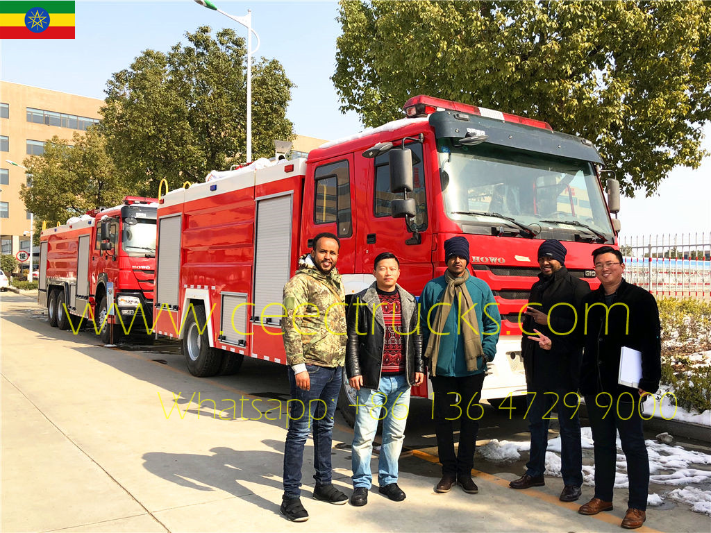 Ethiopia clients visiting CEEC for purchasing HOWO fire trucks