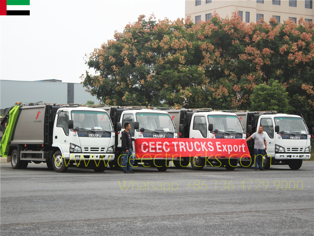 Dubai client buy another 4 units ISUZU 5cbm garbage compactor trucks
